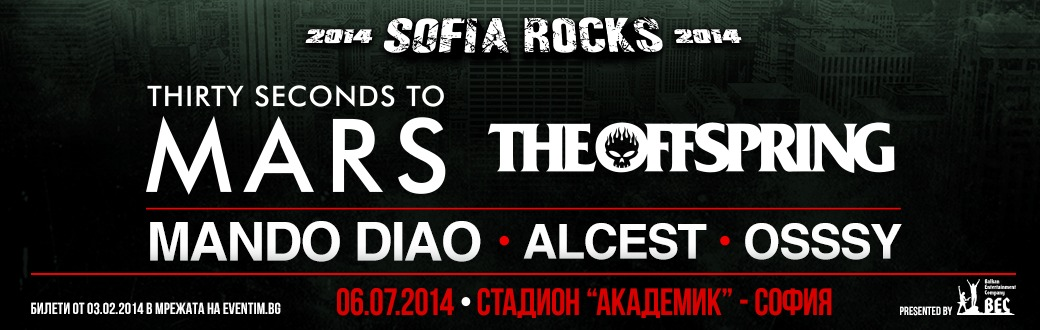 Thirty Seconds To Mars, The Offspring And Mando Diao At Sofia Rocks 2014